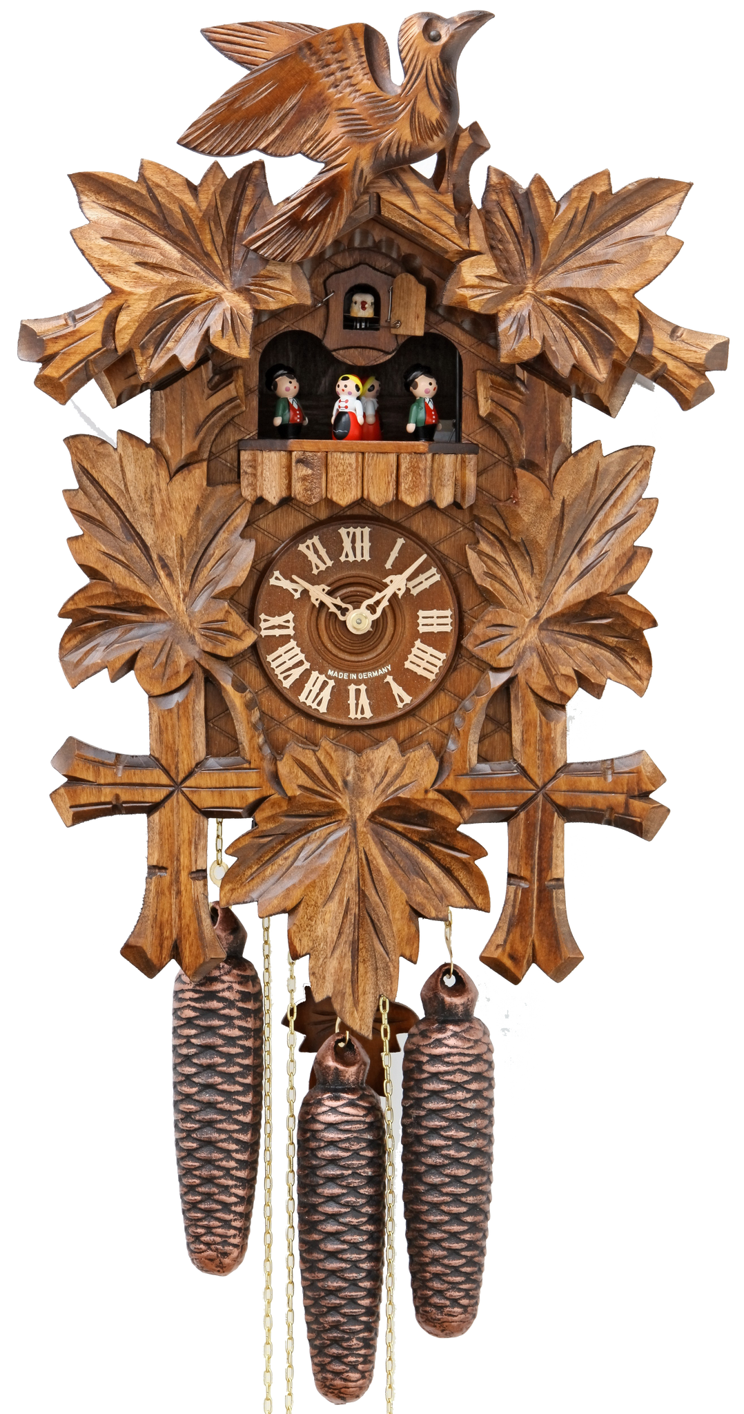 Cuckoo Clock Five Leaves and Bird 8-Day Movement with Music - Cuckoo Clock Meister