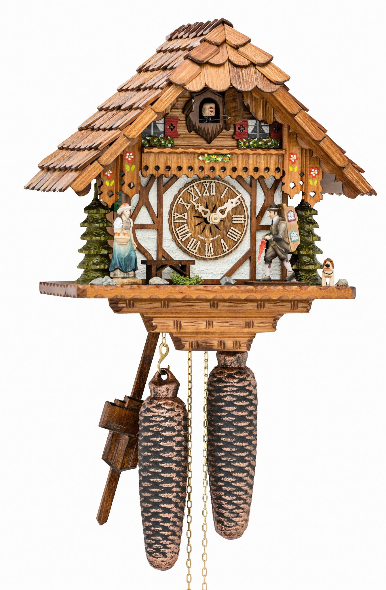 Cuckoo Clock Little Black Forest House with Clock Peddler 8-Day - Cuckoo Clock Meister