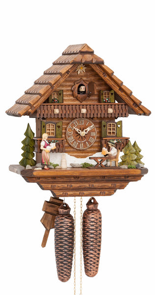 Cuckoo Clock Black Forest House with Moving Beer Drinker 8-Day Movement