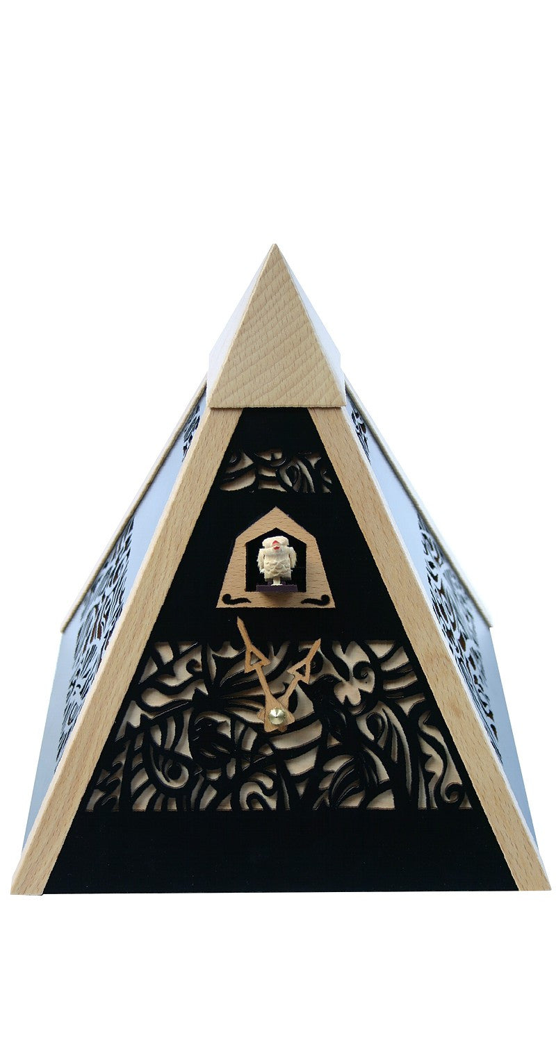 Modern Quartz Pyramid Cuckoo Clock in Black - Cuckoo Clock Meister