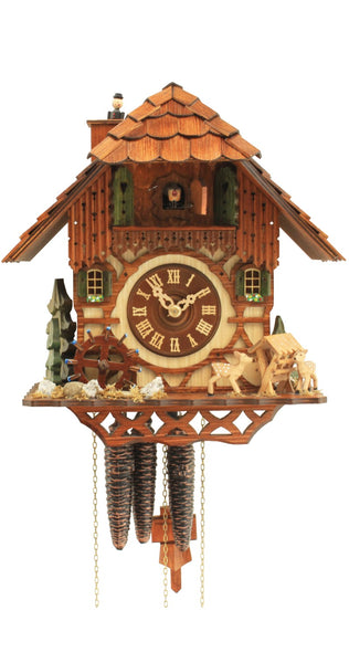Cuckoo Clock Black Forest House Moving Mill Wheel 1-Day Movement and Music
