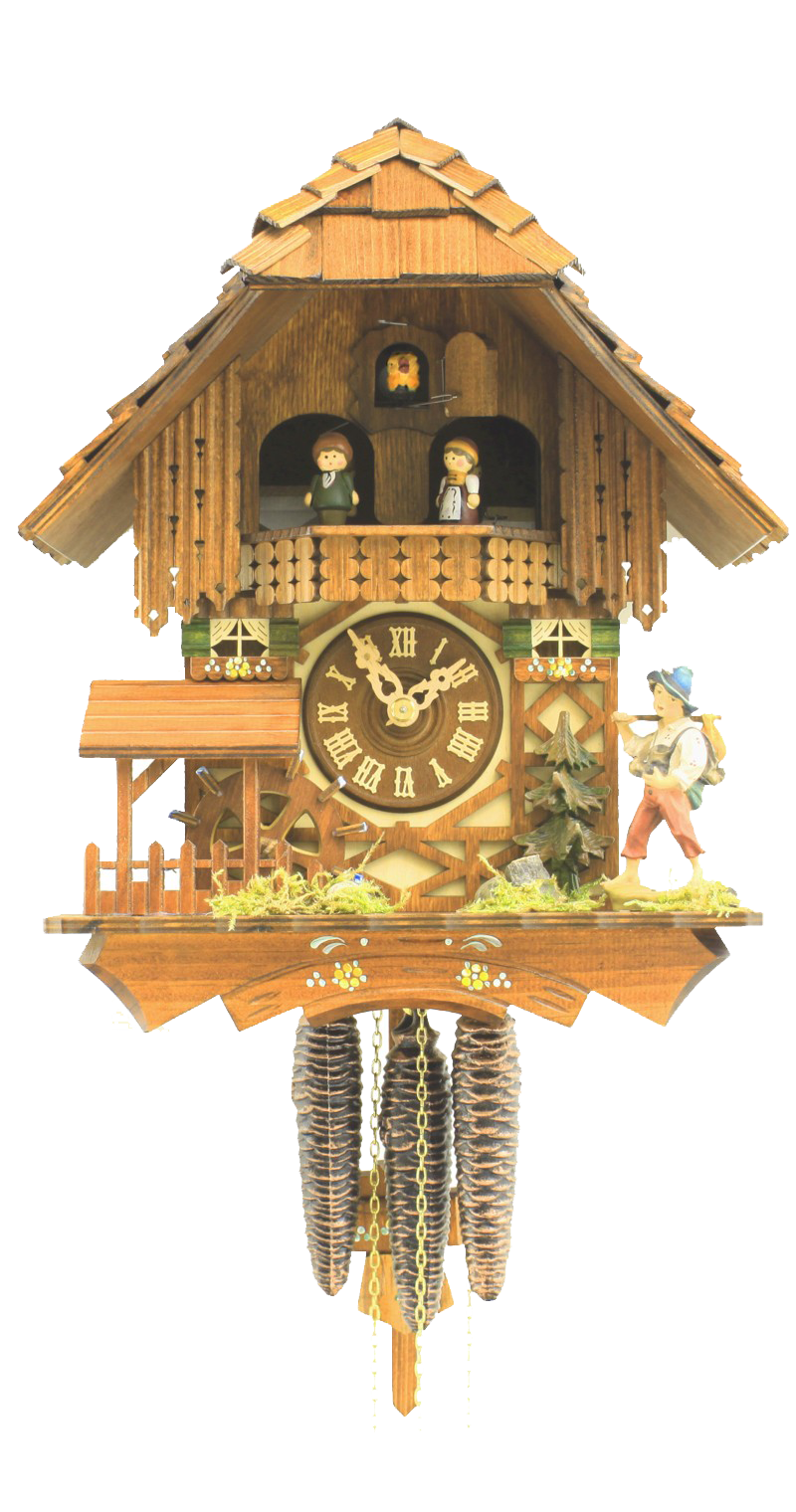 Cuckoo Clock Black Forest House Moving Mill Wheel 1-Day Movement Music - Cuckoo Clock Meister