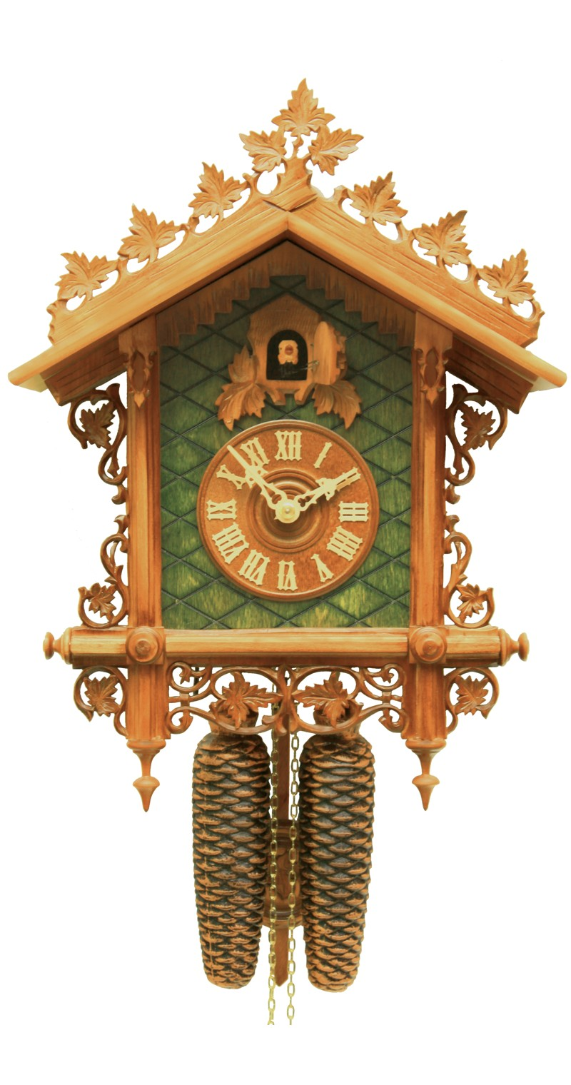 Cuckoo Clock 1885 Replication Green Rail Station Clock 8-Day Movement - Cuckoo Clock Meister