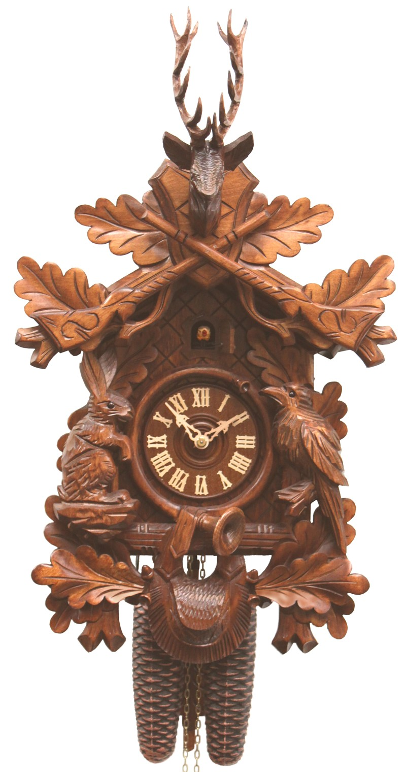 Cuckoo Clock Hunting Clock with Sitting Animals 8-Day Movement - Cuckoo Clock Meister