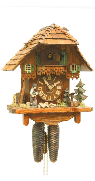 Cuckoo Clock Black Forest House Wood Chopper 8-Day Movement