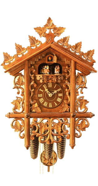 Cuckoo Clock 1885 Replication Station Clock 8-Day Movement Music - Cuckoo Clock Meister