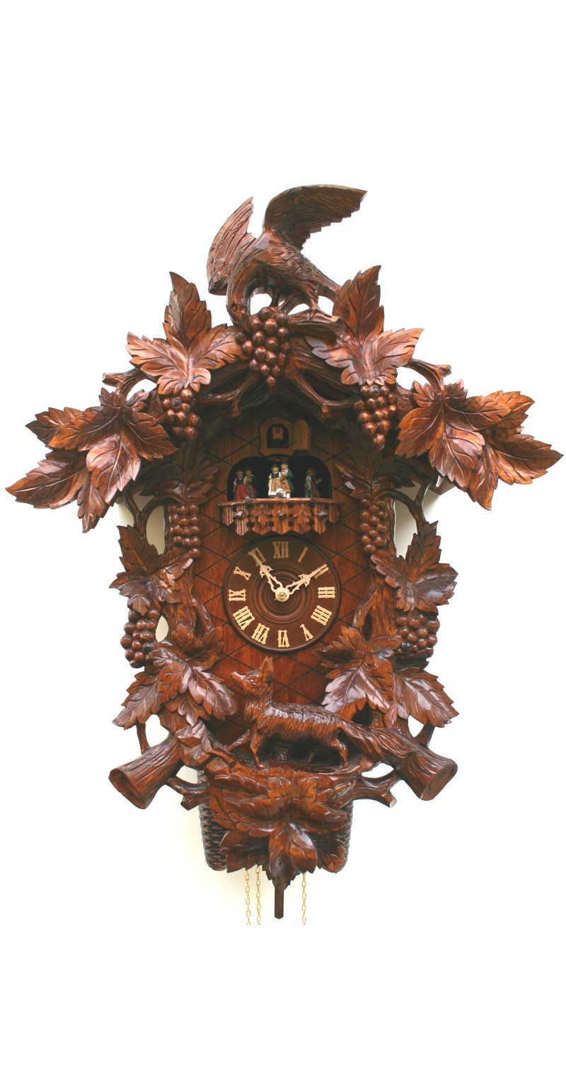Cuckoo Clock with Fox, Raven and Grapes 8-Day Movement Music - Cuckoo Clock Meister