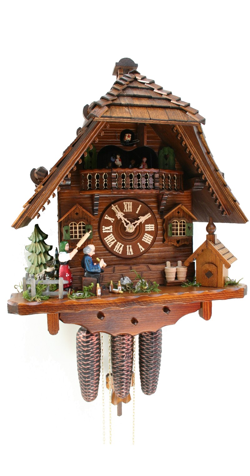 Cuckoo Clock Black Forest House Fighting Couple 8-Day with Music