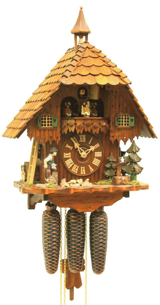 Cuckoo Clock Black Forest House Wood Chopper 8-Day Movement Music - Cuckoo Clock Meister