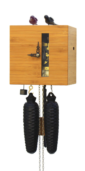 Modern Bamboo Cuckoo Clock Pinewood Color 8 Day Movement - Cuckoo Clock Meister