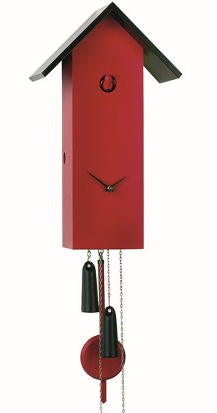 Modern Cuckoo Clock Simple Line in Red 8-Day Movement - Cuckoo Clock Meister