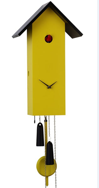 Modern Cuckoo Clock Simple Line in Yellow 8-Day Movement