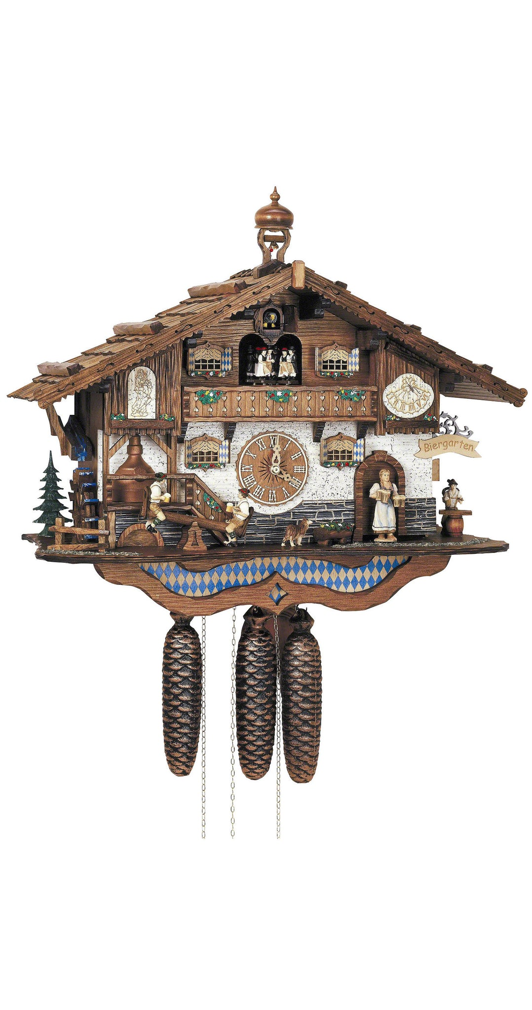 Cuckoo Clock Bavarian House with Beer Drinkers 8-Day Movement Music - Cuckoo Clock Meister