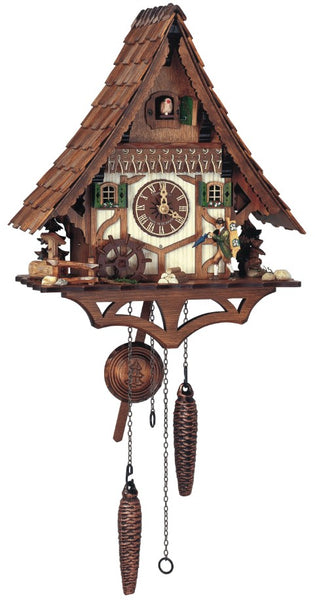 Quartz Cuckoo Clock Mill Wheel and Clock Peddler with Music