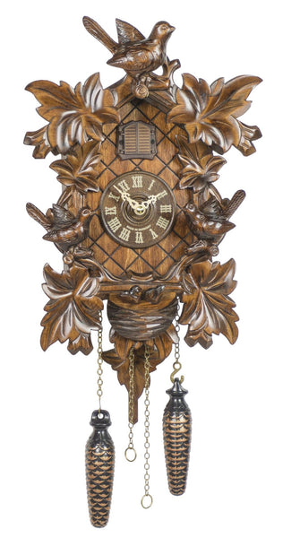 Quartz Cuckoo Clock Six Leaves with Bird & Nest by Trenkle