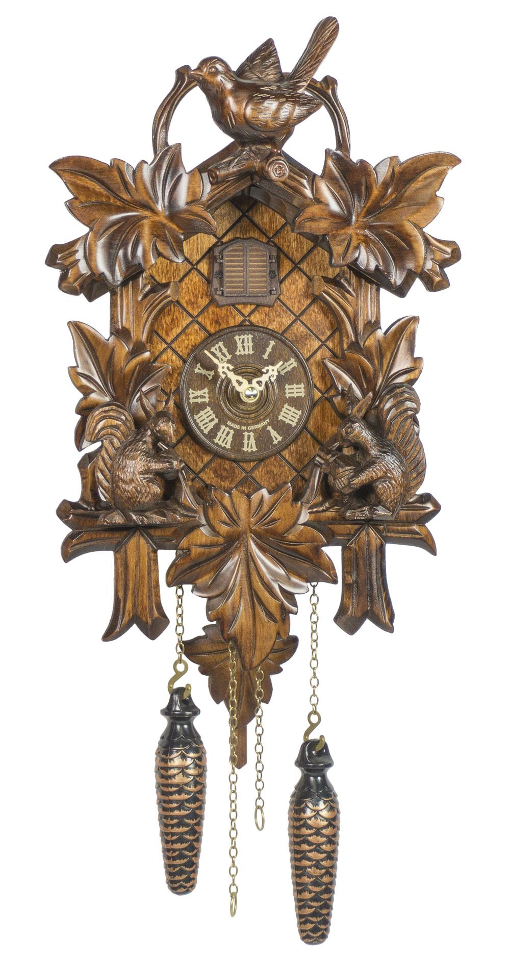 Quartz Cuckoo Clock Five Leaves with Bird and Squirrel - Cuckoo Clock Meister