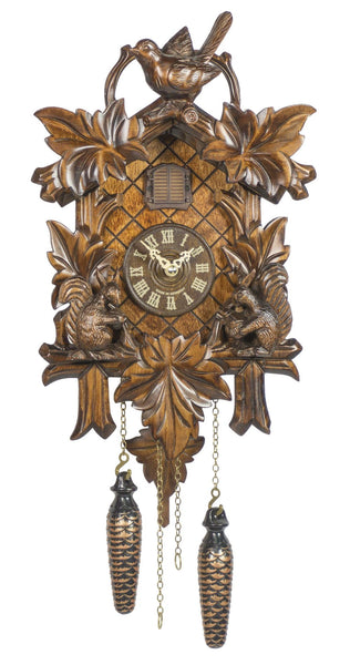Quartz Cuckoo Clock Five Leaves with Bird and Squirrel