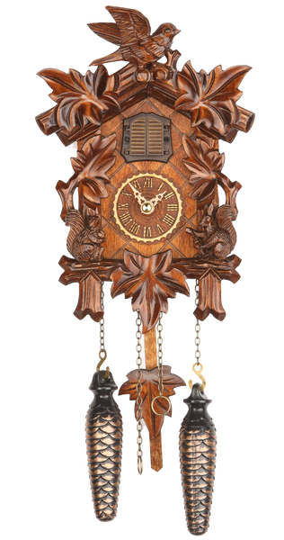 Quartz Cuckoo Clock Five Leaves and Bird with Music