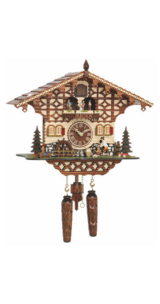 Quartz Cuckoo Clock Black Forest House Chopper and Wheel with Music