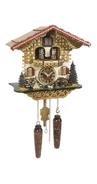 Quartz Cuckoo Clock Swiss House Moving Dancers with Music - Cuckoo Clock Meister