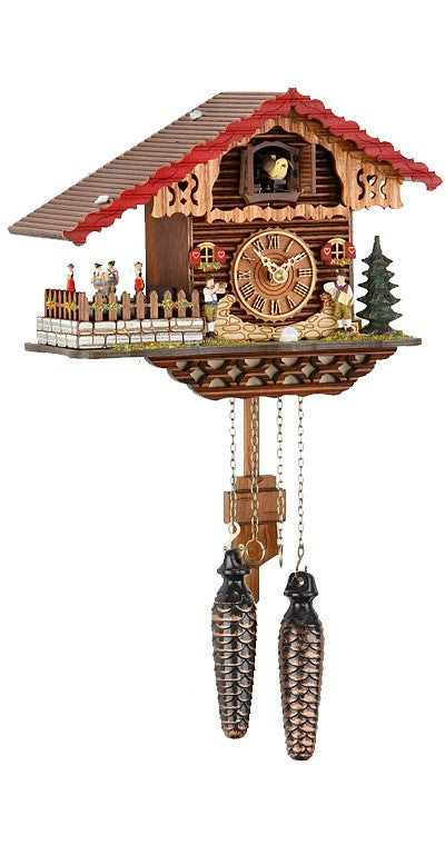 Quartz Cuckoo Clock Black Forest House Moving Dancers with Music