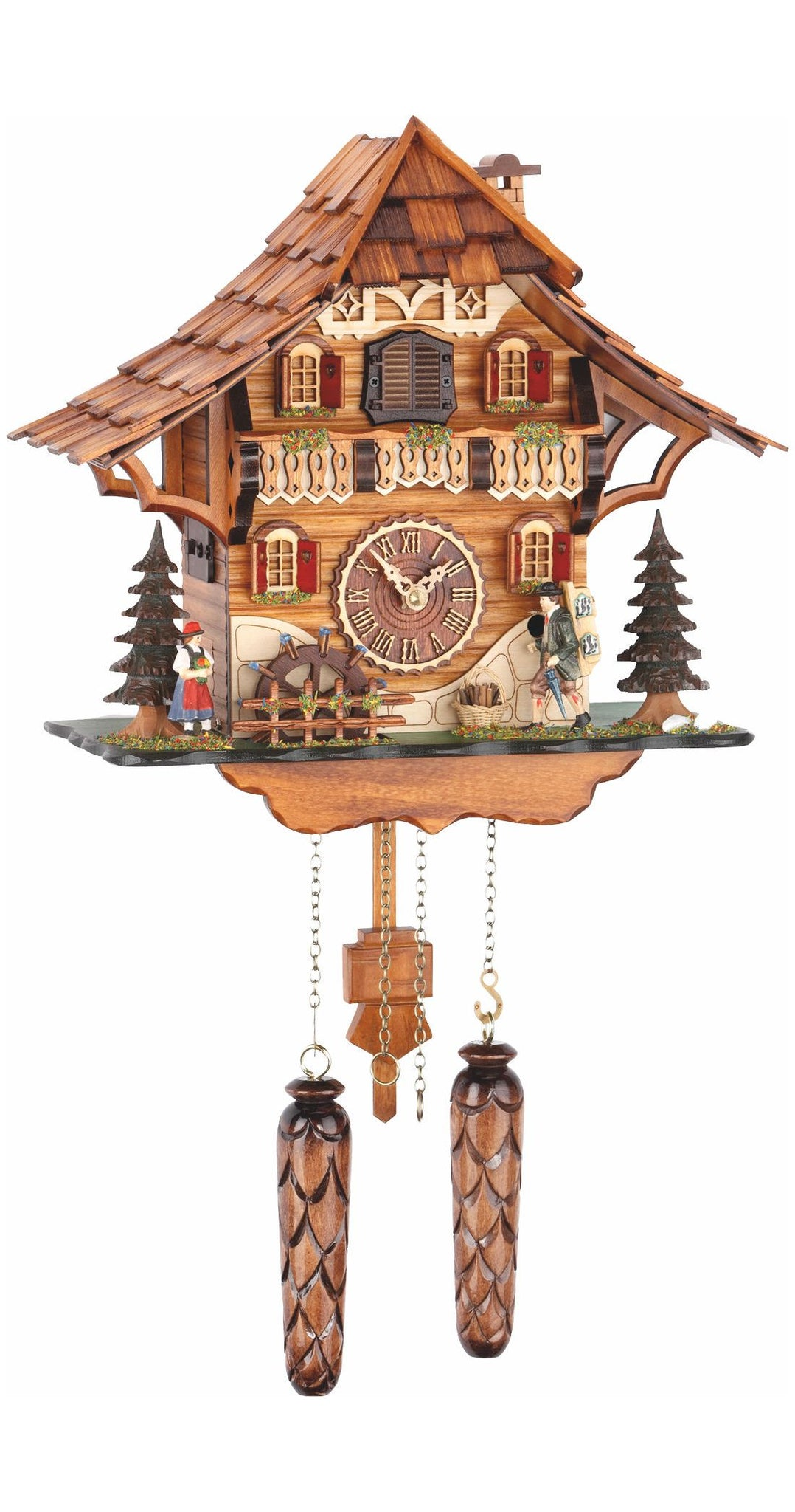 Quartz Cuckoo Clock Black Forest House Clock Peddler and Wheel Music - Cuckoo Clock Meister