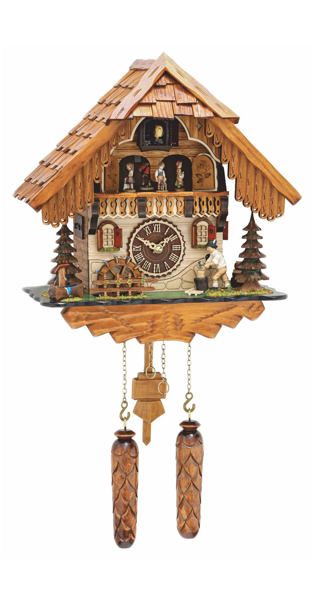 Quartz Cuckoo Clock Black Forest House Chopper and Wheel with Music - Cuckoo Clock Meister
