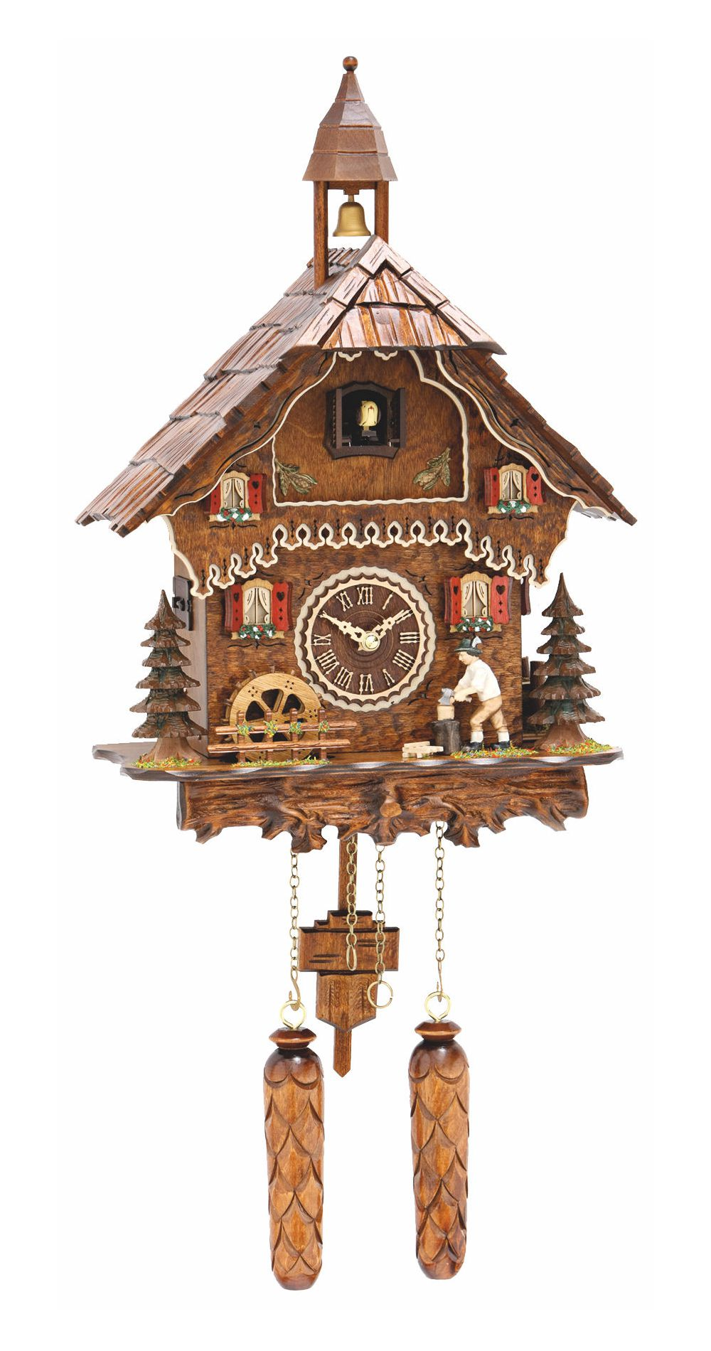 Quartz Cuckoo Clock with Wood Chopper and Wheel with Music - Cuckoo Clock Meister