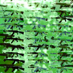 PrattLondon Small Guns Print in Green: Bang-Bang