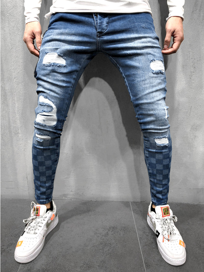 SKINNY-DENIM CHECKED PATTERN - DENIMHOLICS