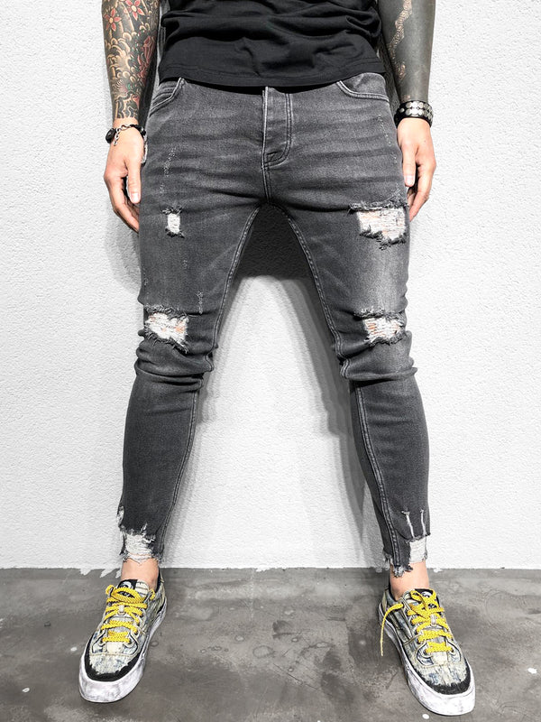 DESTROYED JEANS GREY - DENIMHOLICS