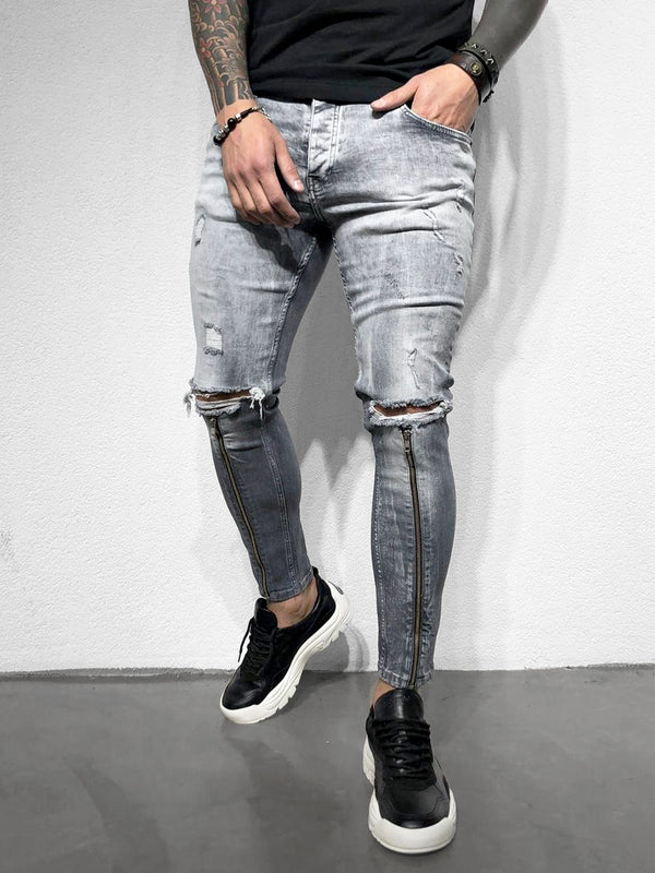 SKINNY-JEANS SHIN ZIPPER GREY-DARKGREY - DENIMHOLICS