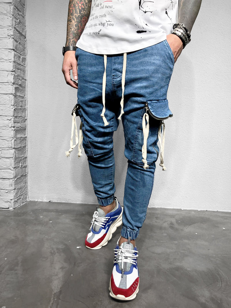 CARGO JOGG DENIM WITH BEIGE LINES - DENIMHOLICS
