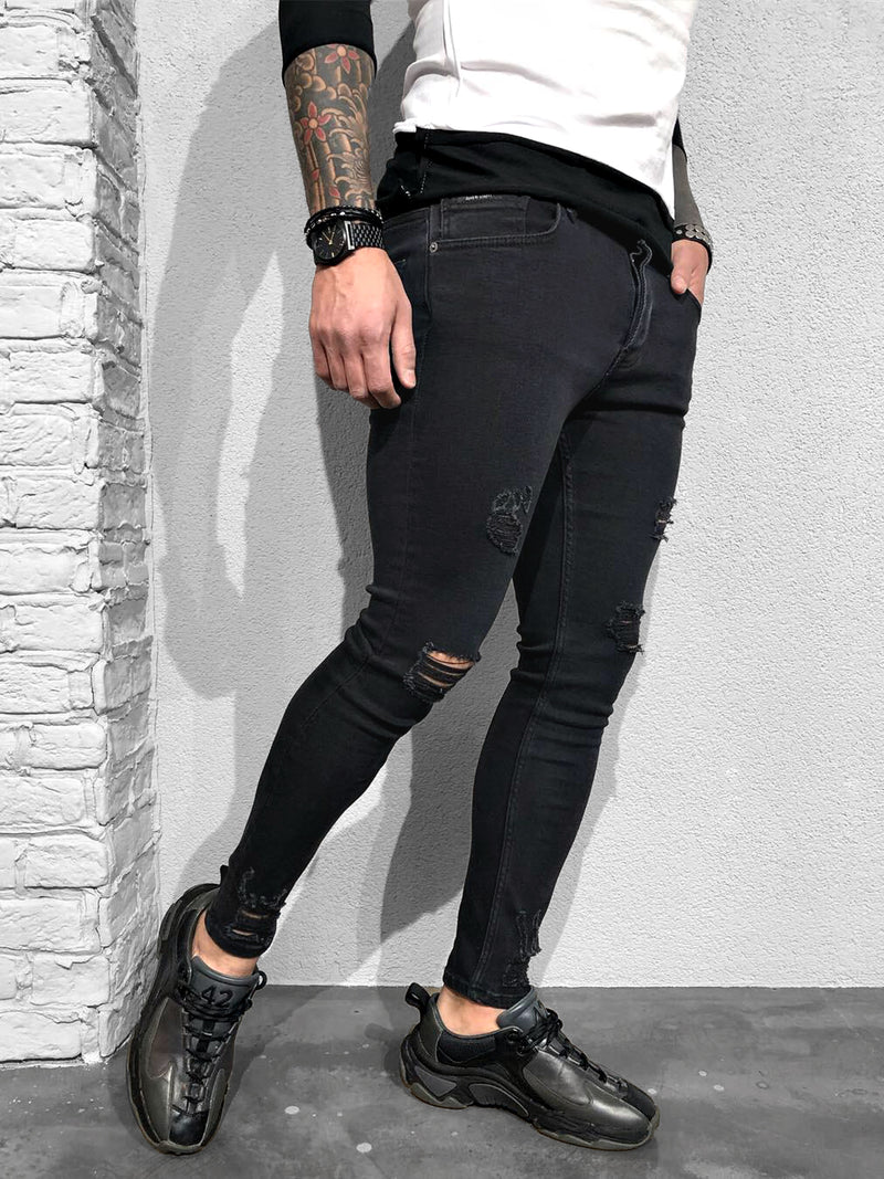 SKINNY-JEANS BLACK DESTROYED - DENIMHOLICS