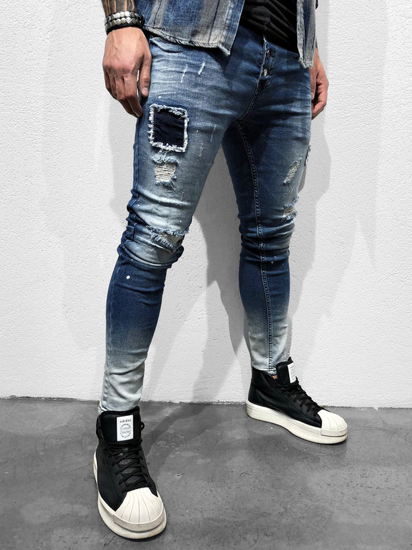 SKINNY JEANS WITH PATCHES - DENIMHOLICS