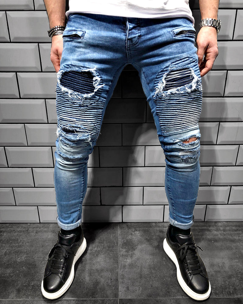 BIKER-DENIM DESTROYED LOOK - DENIMHOLICS