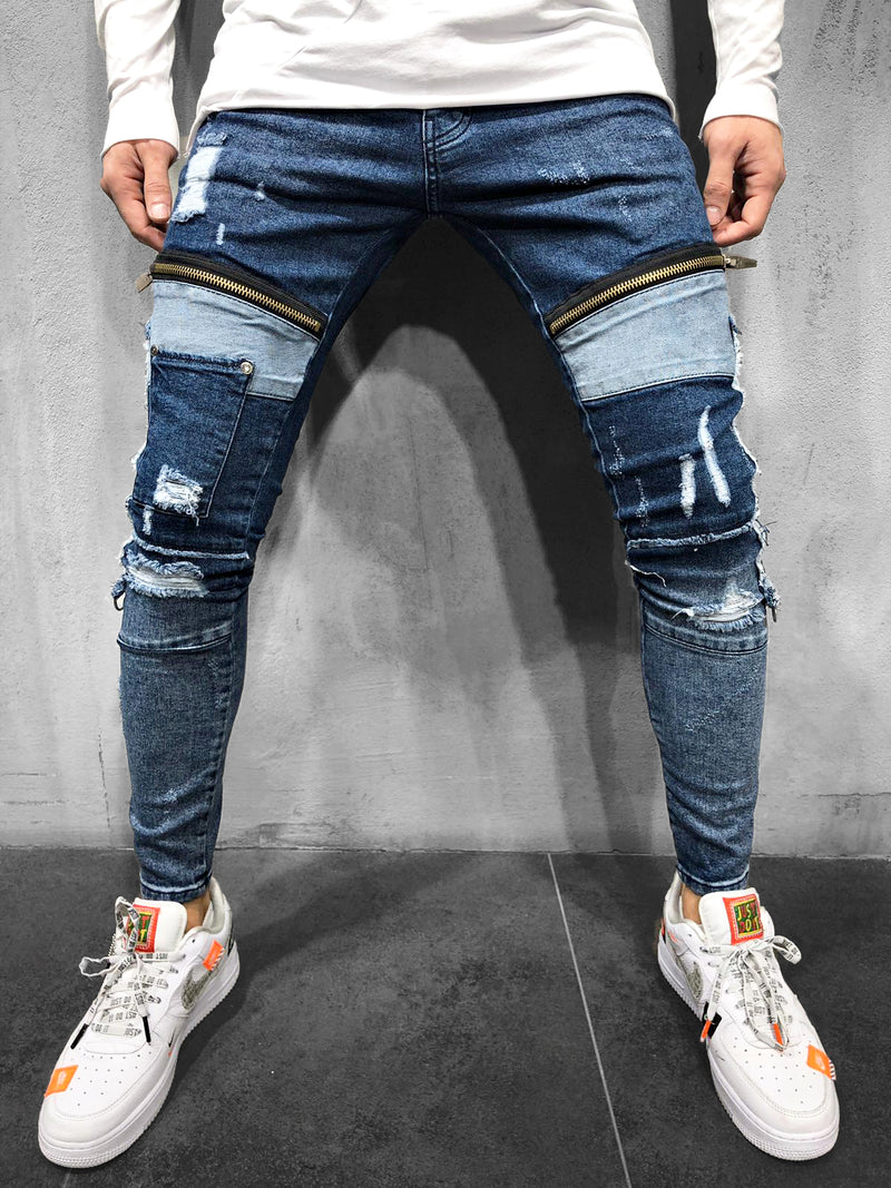 PATCHWORK-JEANS BLUE - DENIMHOLICS