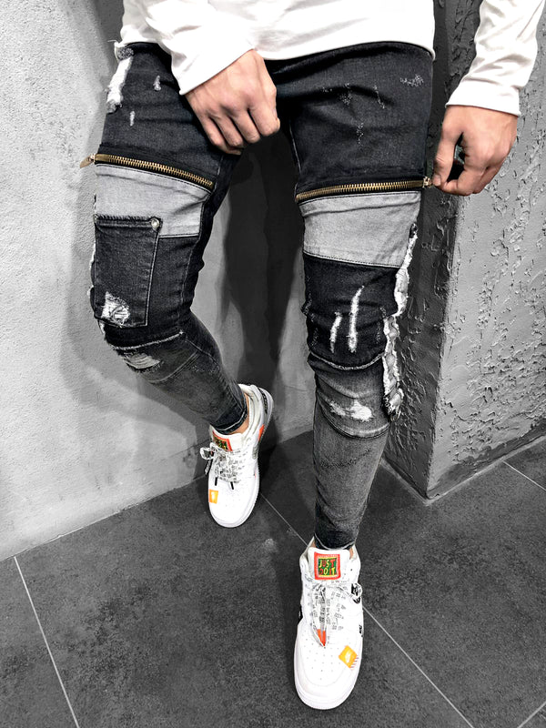 PATCHWORK-JEANS DARK GREY - DENIMHOLICS