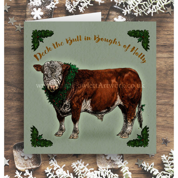 'Deck the Bull' Christmas Card