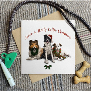 'Holly Collie Christmas' greetings card