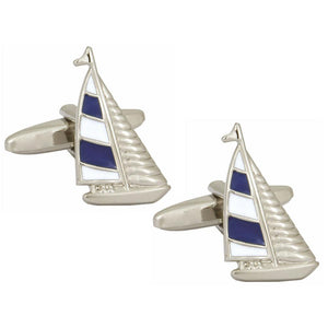 Cufflinks - Blue & White Yacht Cufflinks