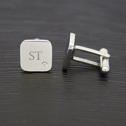 Cufflinks - Monogrammed Silver Cufflinks With A Touch Of Sparkle
