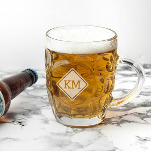 Glassware - Diamond Design Monogrammed Beer Glass