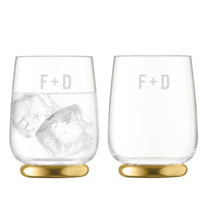 Glassware - Monogrammed Gold Tumblers - Set Of 2