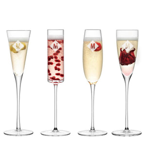 Glassware - Monogrammed Mismatch Champagne Flutes - Set Of 4