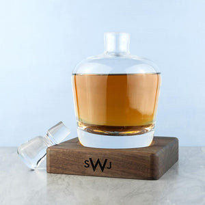 Glassware - Monogrammed Whiskey Decanter With Walnut Base