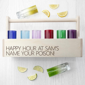Glassware - Personalised Coloured Shot Glass Crate - Set Of 6 Or 12