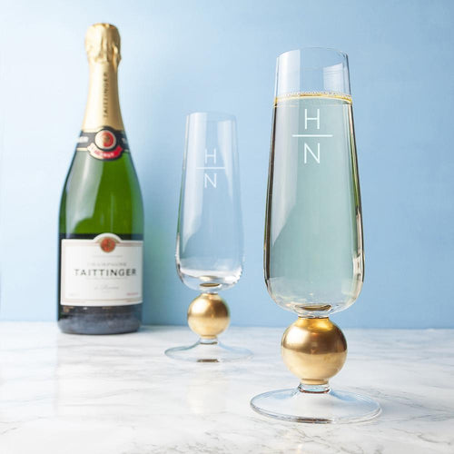 Glassware - Set Of Two Monogrammed Champagne Glasses
