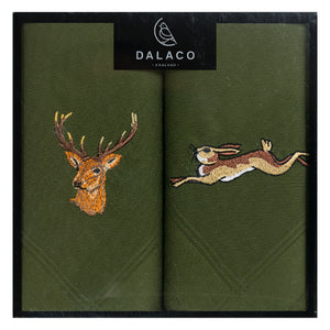 Handkerchiefs - Green Stag & Hare Embroidered Handkerchief Set