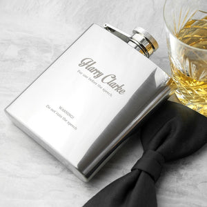 Hip Flask - Best Man Speech Silver Hip Flask